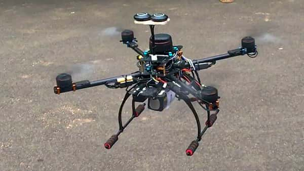 An agricopter designed by students of IIT Madras to eliminate manual spraying of pesticides. The device can also assess the crop health by using its multi-spectral imaging camera. (PTI )