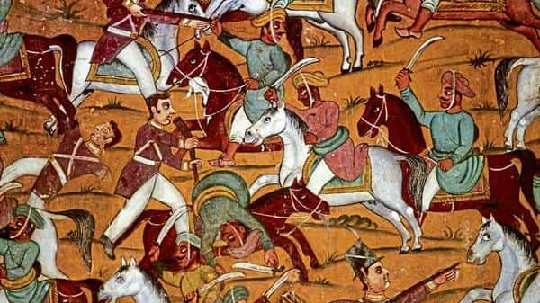 A portion of a mural depicting a battle scene in Daria Daulat Bagh.  (Getty Images)