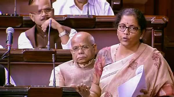 Union Finance Minister Nirmala Sitharaman in the Rajya Sabha. (Photo: PTI)