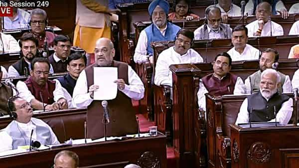 Home Minister Amit Shah addresses over Article 370 issue at Rajya Sabha in New Delhi on Monday (Photo: ANI)