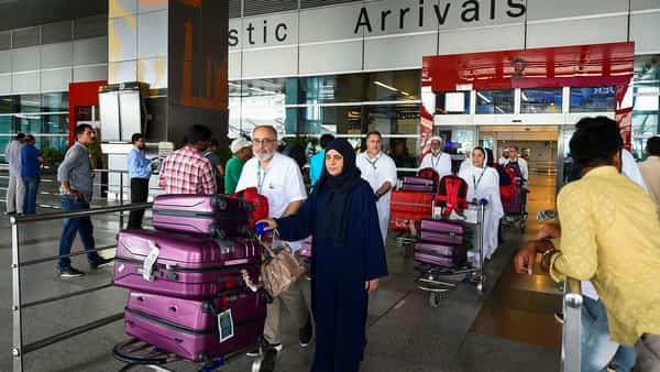 Passengers traveling from Srinagar on their arrival at Terminal 3 of Indira Gandhi International Airport, in New Delhi (Photo: PTI)