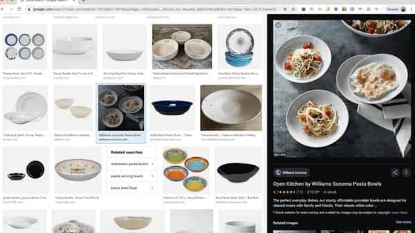 After selecting an image of a product, users will get to see details such as the brand, price, availability, and reviews in the side panel.
