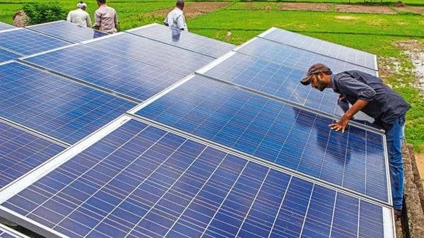 India has a domestic solar and wind power equipment production capacity of 3GW and 10GW, respectively. (Bloomberg file)