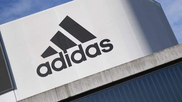 The Adidas logo is pictured during celebrations for German sports apparel maker Adidas' 70th anniversary at the company's headquarters in Herzogenaurach, Germany. (Reuters)