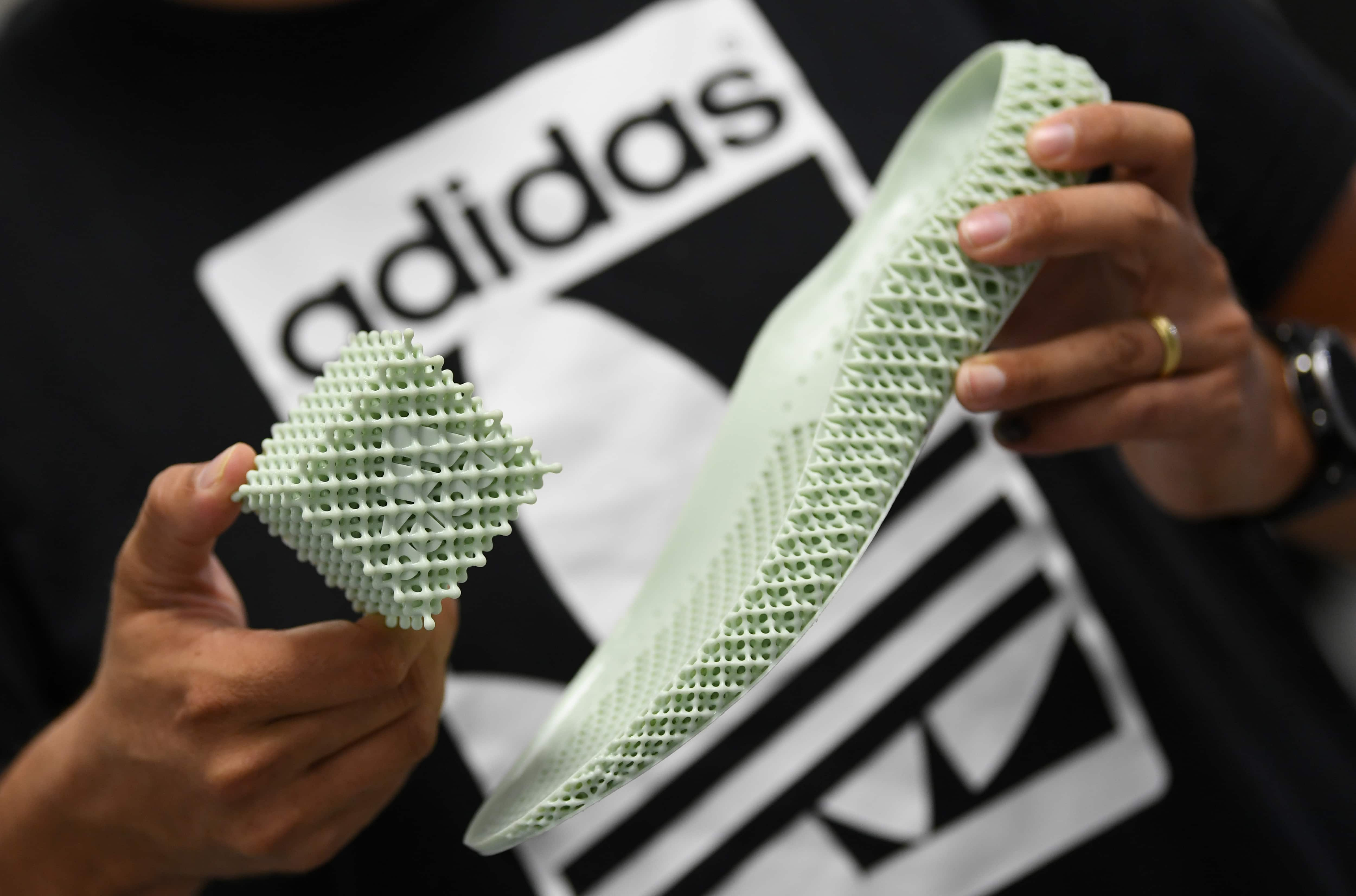 The sole of the Adidas shoe Alphaedge is presented during celebrations for German sports apparel maker Adidas' 70th anniversary at the company's FutureLab in Herzogenaurach, Germany. (Reuters)