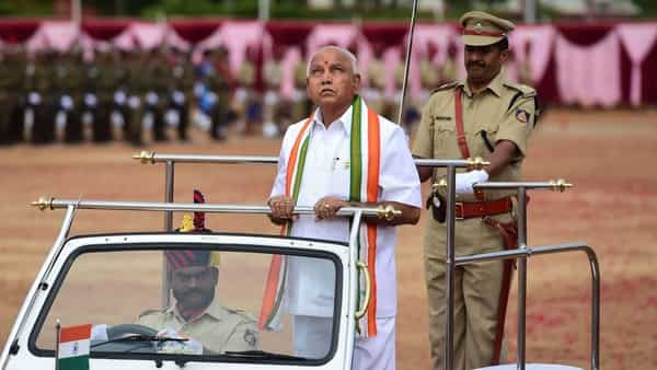 Karnataka chief minister BS Yediyurappa during the Independence Day celebrations, in Bengaluru on Thursday (PTI)