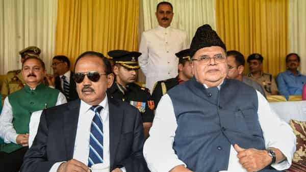Jammu and Kashmir Governor Satya Pal Malik with NSA Ajit Doval during a function on the occasion of 73rd Independence Day, at Sher-e-Kashmir Cricket Stadium, in Srinagar.  (PTI )