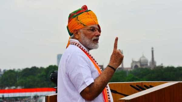 PM Narendra Modi during his sixth Independence Day speech. (Photo: Ramesh Pathania/Mint )
