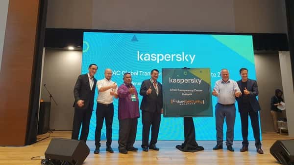 Right to left: Stephan Neumeir, MD, Kaspersky Lab (Asia-Pacific), Eugene Kaspersky, CEO, Kaspersky Lab and other officials from the cybersecurity company and the Malaysian government during the announcement of Kaspersky's Transparency Centre in Cyberjaya, Malaysia, on Thursday