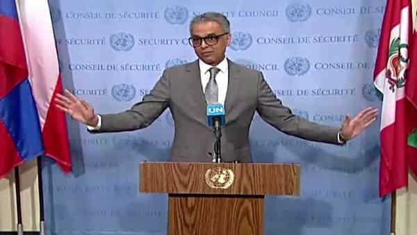 Indian Envoy to UN Syed Akbaruddin speaking on the Kashmir situation at UNSC in New York on Friday. (ANI )