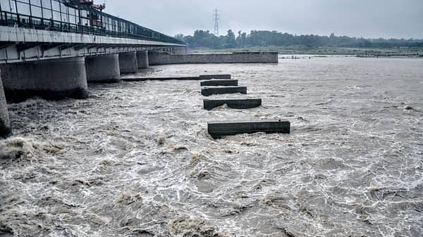 A view of the Yamuna river as the water level rises after the water gets released from Hathni Kund Barrage, in New Delhi (Photo: ANI)