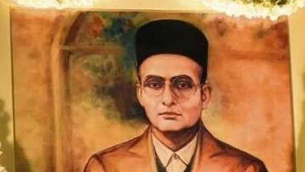 A portrait of Savarkar in the central hall of Parliament House. (Hindustan Times)