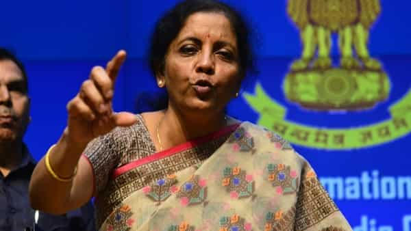 Finance minister Nirmala Sitharaman unveiling PSB reforms at a press conference in New Delhi on Friday (Photo: Pradeep Gaur/Mint)
