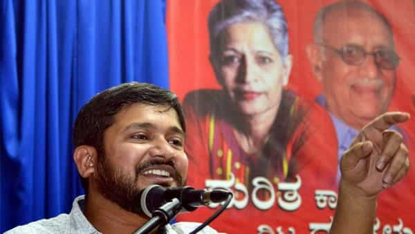CPI leader Kanhaiya Kumar, addresses a gathering during an event remembering Late Gauri Lankesh and A.K. Subbaiah, in Bengaluru (Photo: PTI)