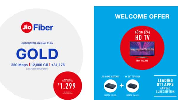 Reliance Jio's ₹1,299 Fiber Gold Plan offers 60 cm HD TV