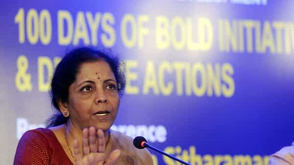 Finance Minister Nirmala Sitharaman addressing media on the actions and decisions of her ministry in 100 days of Modi 2.0 govt, in Chennai on Tuesday (Photo: ANI)