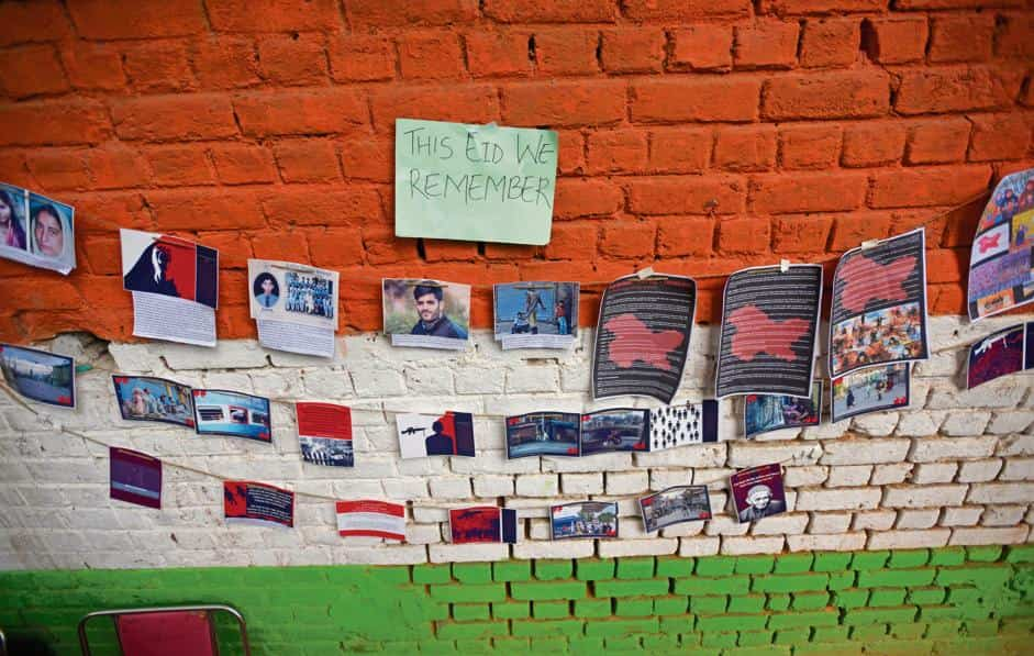 """Photographs of the families and friends of Kashmiri students at an """"Eid Away from Home"""" event at Jantar Mantar, Delhi, on 12 August."""