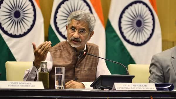 External affairs minister S. Jaishankar at a media briefing in New Delhi (Photo: Pradeep Gaur/Mint)