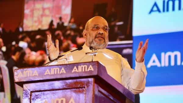Home minister Amit Shah at an event of the All India Management Association, in New Delhi on Tuesday (Ramesh Pathania/Mint)