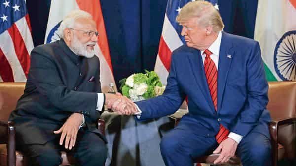 Prime Minister Narendra Modi with US President Donald Trump in New York on Tuesday. Trump said he was confident the leaders of India and Pakistan would come together very soon (Photo: AP)