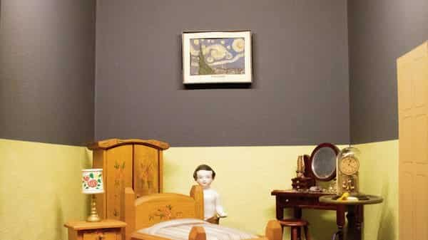 A miniature dollhouse with a scaled-down version of Vincent Van Gogh's 'Starry Night' (Photo Courtesy: CSMVS)