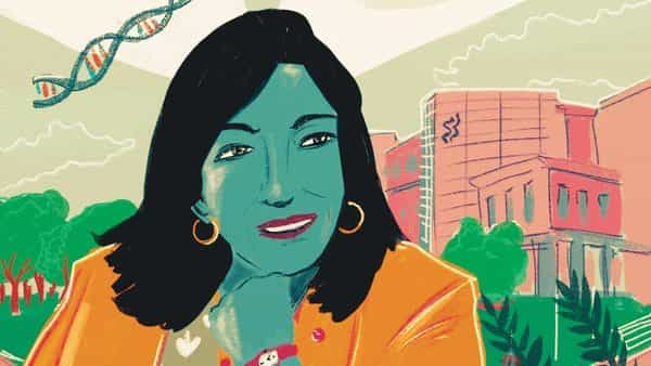Illustration of biotechnologist Kiran Mazumdar-Shaw (Illustrations by Upasana Agarwal)