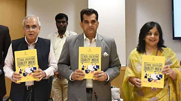 Niti Aayog VC Rajiv Kumar (extreme left), CEO Amitabh Kant and secretary (department of school & literacy) Rina Ray during launch of School Education Quality Index in New Delhi on Monday. (ANI)