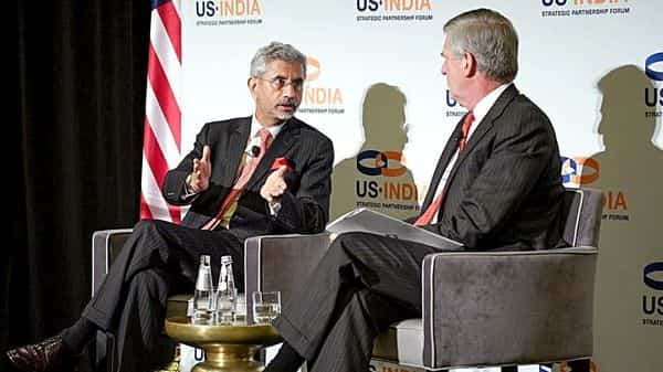 External Affairs Minister S. Jaishankar addresses along with the President of McLarty Associates Nelson W. Cunningham (R) during the US-India Strategic Partnership Forum in Washington DC on Tuesday (Photo: ANI)