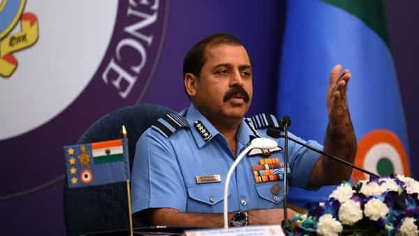 Chief of the Air Staff, Air Chief Marshal Rakesh Kumar Singh Bhadauria addresses a press conference ahead of the Air Force Day as part of 87th Air Force Day celebration in New Delhi on Friday (Photo: ANI)