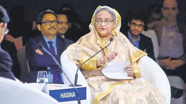 Bangladesh Prime Minister Sheikh Hasina at the India Economic Summit in New Delhi on Friday (Photo: Ramesh Pathania/Mint)