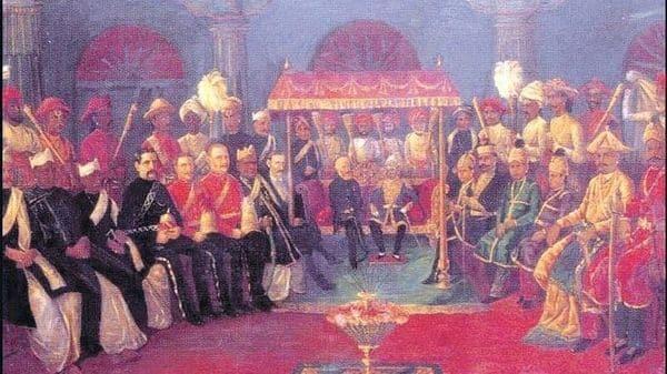 The 'darbar' at Pudukkottai painted by Raja Ravi Varma. (Wikimedia Commons)