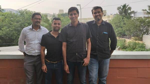 From Left to Right) Sundeep Donthamshetty (co-founder and CTO), Abilash Haridass (co-founder and Chief of Growth and Strategy), Vijay Krishna (co-founder and CEO) and Mohamed Mohideen (co-founder and COO) (Photo: Mint)