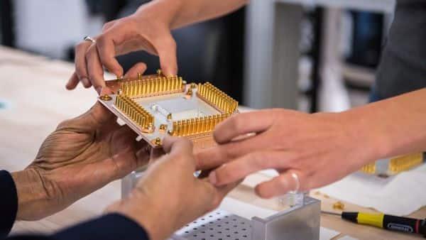 A component of Google's Quantum Computer in the Santa Barbara lab, California. (Reuters)