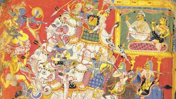 A painting depicting Krishna's battle against the demon Naraka's armies.