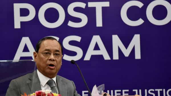 Chief Justice of India Ranjan Gogoi addresses during the launch of book 'Post Colonial Assam (1947-2019)' in New Delhi on Sunday (Photo: ANI)