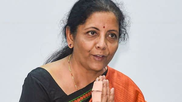Union Finance Minister Nirmala Sitharaman at the silver jubilee celebrations of NSE in Mumbai on Tuesday. (PTI)