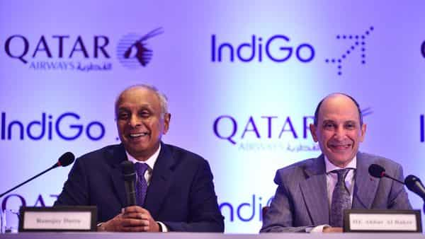 IndiGo CEO Ronojoy Dutta with Qatar Airways CEO Akbar Al Baker during the announcement of the strategic code share partnership between the two airlines, in New Delhi on Thursday (Pradeep Gaur/Mint )