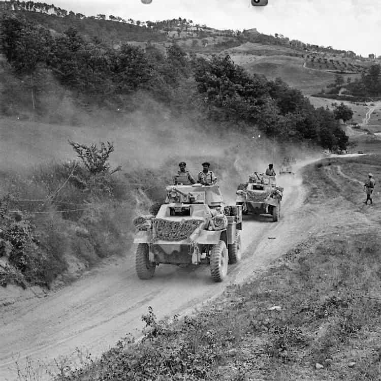 Tanks of the British army manned by Indian troops in Italy.