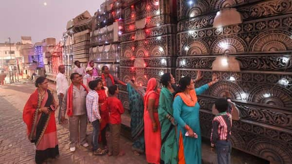 People during a visit to the Shri Ram Janmbhoomi Nyas Karyashaala (workshop), a day after the Supreme Court's verdict on the Ayodhya case. (Photo: PTI)