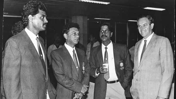 Abbas Ali Baig (second from left) was the manager of the Indian cricket team that toured Australia in 1991-92.  (Photo: Hindustan Times)