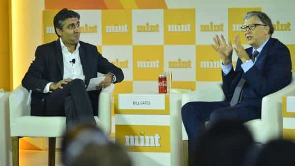 (Left) Rishad Premji, chairman of Wipro Ltd, in conversation with Bill Gates, co-chair, Bill & Melinda Gates Foundation at the Mint Visionaries event in New Delhi