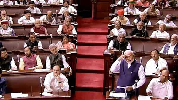 Prime Minister Narendra Modi speaking at the Rajya Sabha during the first day of Winter Session, in New Delhi on Monday (Photo: ANI)