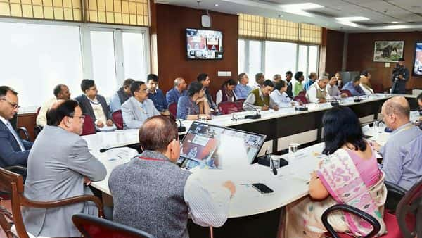 A high-level meeting on air pollution chaired by C.K. Mishra, secretary, environment ministry, in New Delhi on Monday. (PTI)