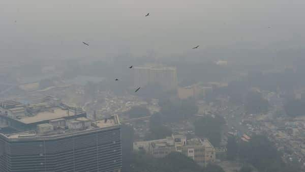 A birds eye view of the national capital covered in a dense layer of smog, in New Delhi (PTI)