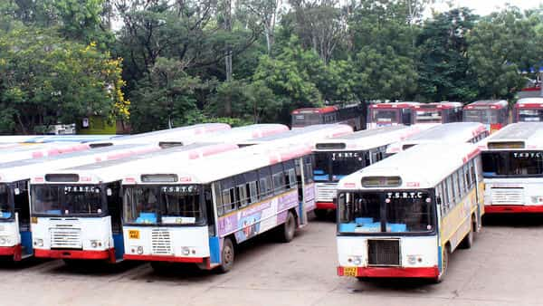 TSRTC strike has crippled public transport in the state, prompting the government to hire temporary drivers to run some of the bus services. (ANI)