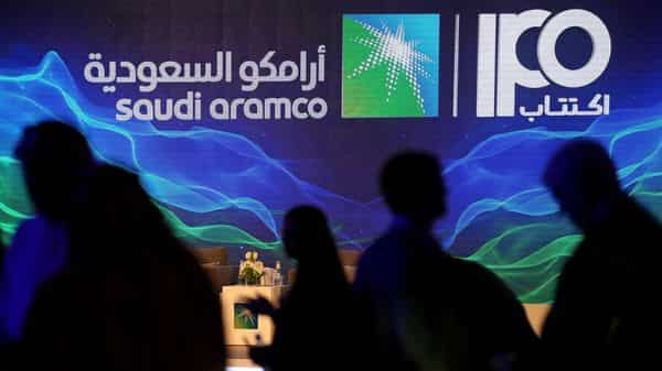 A sign of Saudi Aramco's initial public offering (IPO) is seen during a news conference by the state oil company at the Plaza Conference Center in Dhahran, Saudi Arabia (Photo: Reuters)