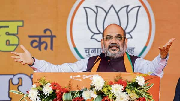 Union home minister Amit Shah at a rally in Jharkhand's Chakradharpur on Monday. (PTI)