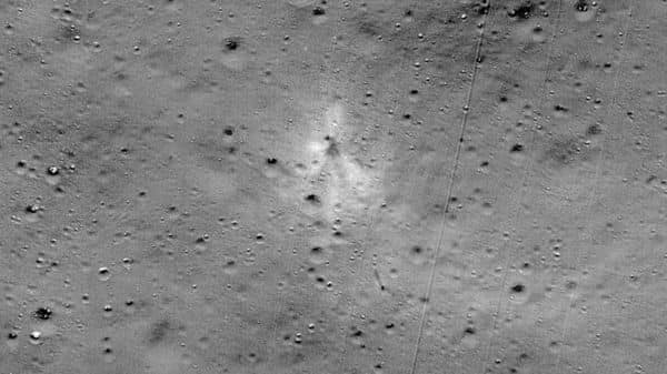 This handout image released by NASA, and taken by the Lunar Reconnaissance Orbiter Camera team shows the Vikram Lander impact point. (AFP)