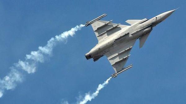 A Saab Gripen fighter jet. (Bloomberg)