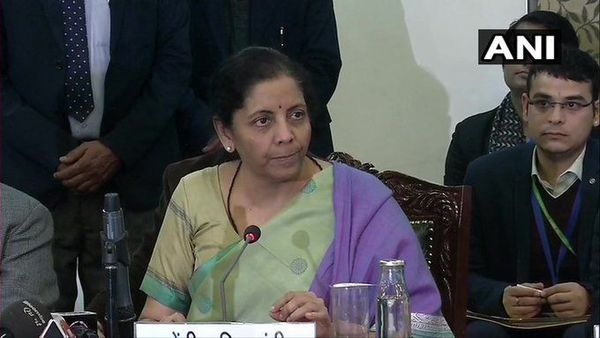 Finance Minister Nirmala Sitharaman, who chaired the GST Council meeting, in New Delhi today.